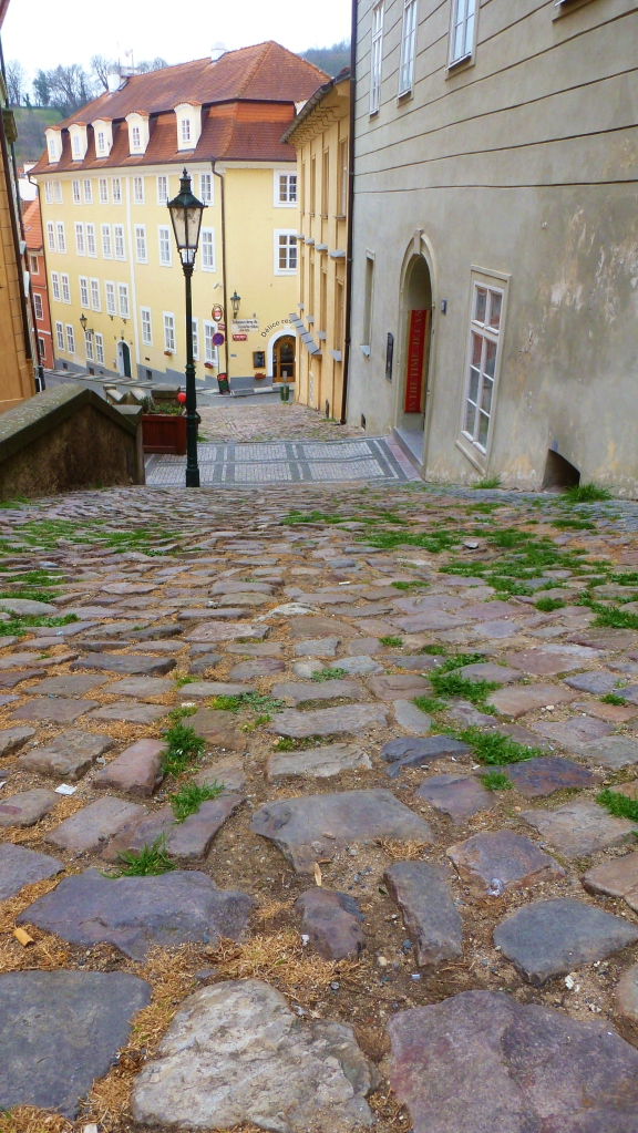 Cobbles on a disused street leading up to the Castle District.