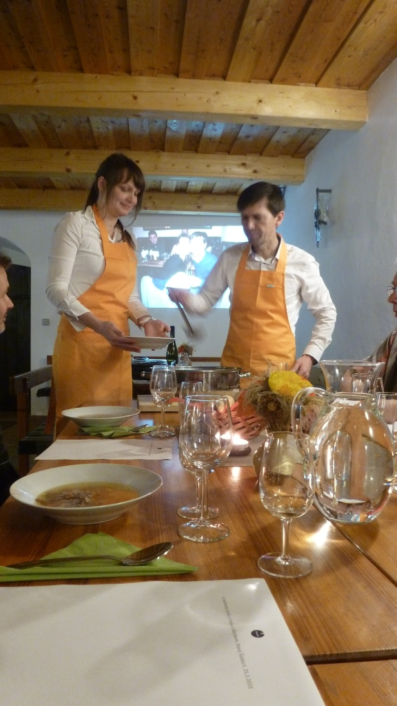 Eva and Marek serving the first course.